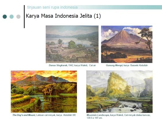 "Lukisan-lukisan yang terdapat di dalam materi Tinjauan Sejarah Seni Rupa Modern Indonesia (disusun oleh Drs. Hery Santosa, M.Sn. dan Drs. Tapip Bahtiar, M.Ds.) yang dikirimkan Sibawaihi ke saya. Salah satunya (di posisi kiri atas) adalah lukisan karya Wakidi, ""Danau Singkarak"" (1942),"