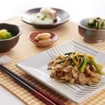 豚肉のスタミナ炒め 560円(税込)鮭の豆乳ホワイトソース 菜の花とカニカマ和え