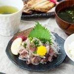 このままご飯にのせて食べるも良し、国産 真鯵タタキお造り(約100g)