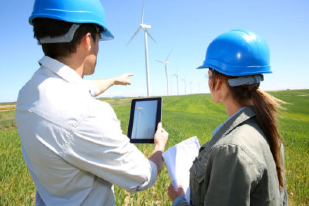 Engineers on wind turbine