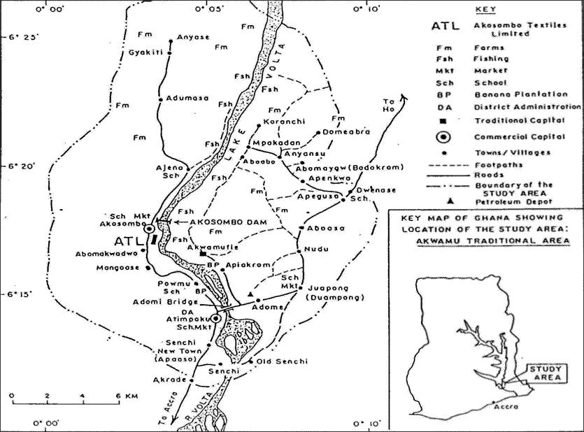 Kort over det traditionelle Akwamu område i Ghana