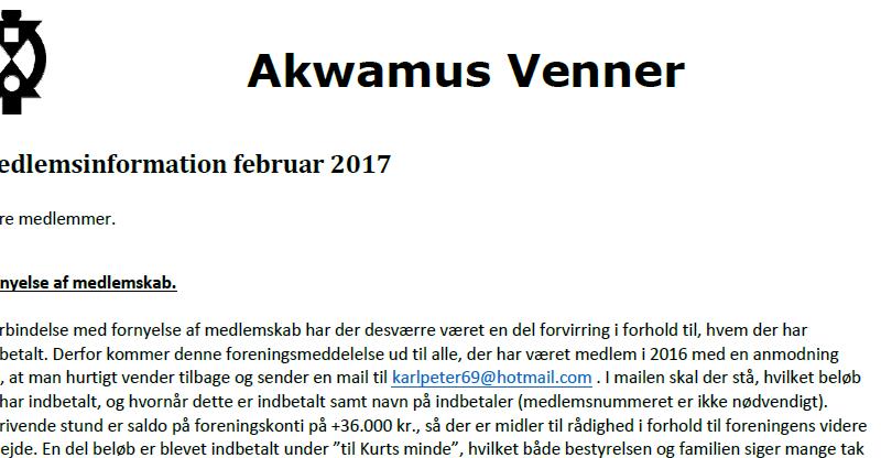 Foreningsnyt Akwamus Venner Februar 2017