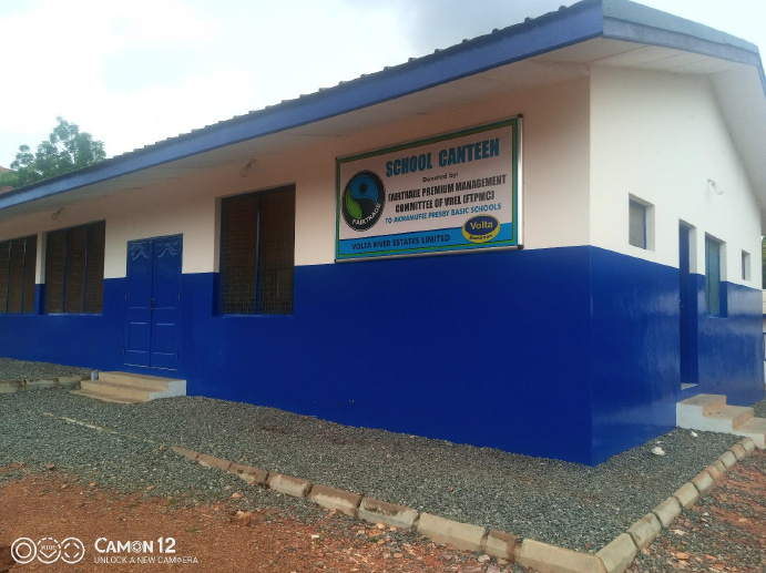 blue and a white structure with the logo of Volta River Estate Limited is a canteen built by the said company for the school