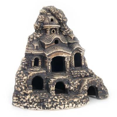 Ozdoba do akwarium, zamek narożny wykuty w skale