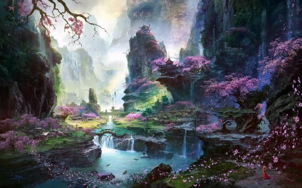 Beautiful lake and cherry blossoms - concept art by Ming Fan.