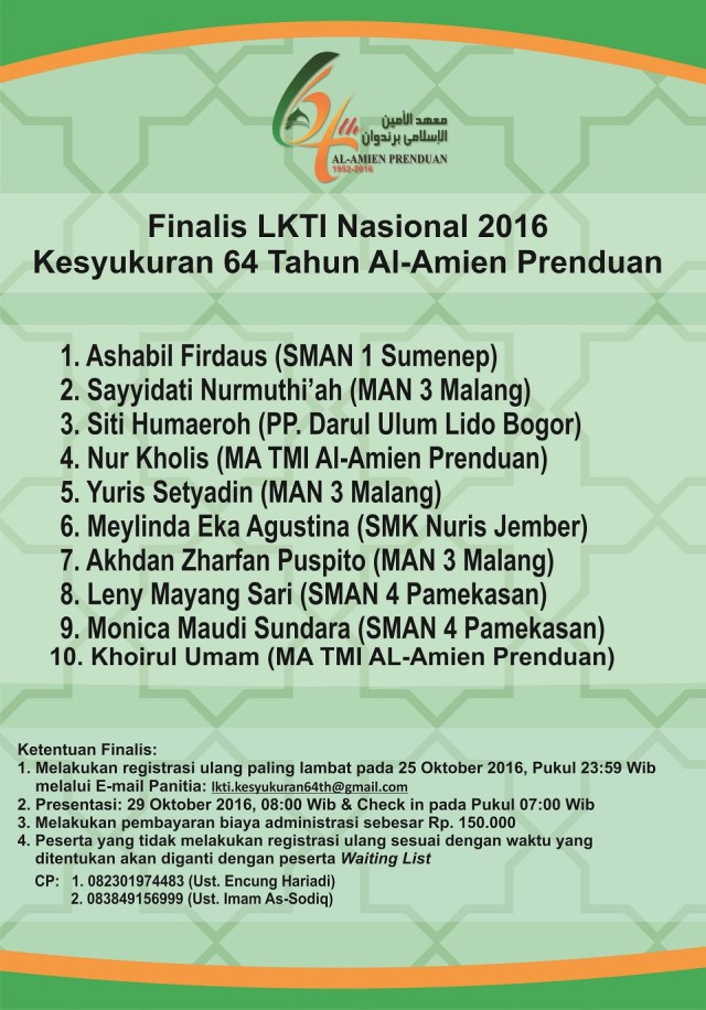 Finalis Lomba Karya Tulis Ilmiah (LKTI) Nasional