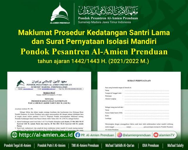 Maklumat Pimpinan dan Pengasuh PP. Al-Amien Prenduan tentang Prosedur Kedatangan Santri Lama Tahun Ajaran 1442/1443 H. (2021/2022 M.)
