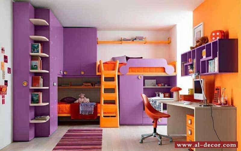 غرفة نوم اطفال ذات مزيج رائع من اللون البرتقالي و البنفسجي