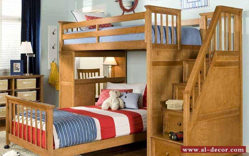 سرير مزدوج من الخشب مصنع بطريقة مبتكرة و أمنة