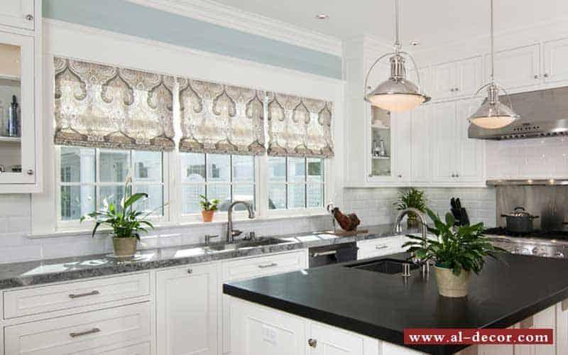 الستائر الروماني من أجمل الستائر للإستخدام في المطبخ