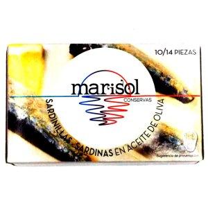 Sardinillas en aceite de oliva 10-14pz. Lata 120gr. Marisol.