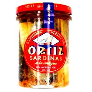 Sardinas en aceite oliva. Tarro cristal 210gr. Ortiz.