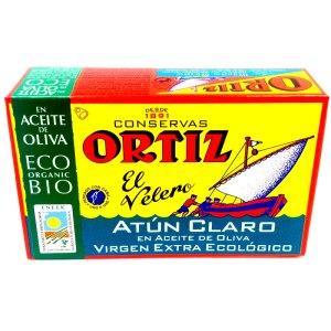Atún claro en aceite de oliva ECO. Lata 120gr. Ortiz.