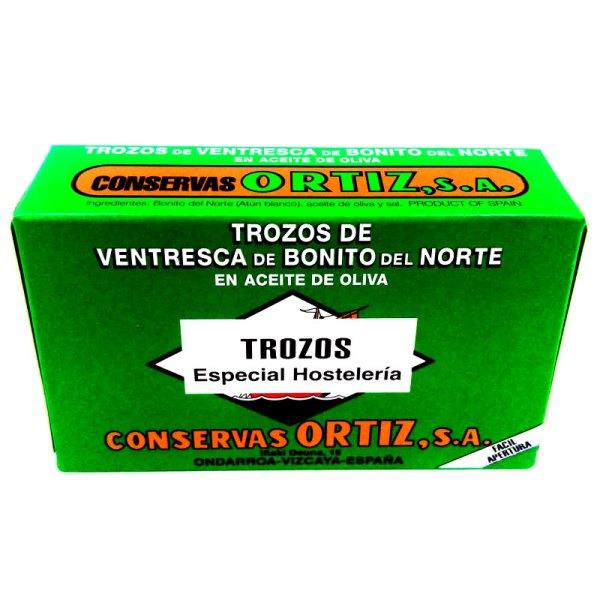 Trozos de ventresca de bonito en aceite de oliva. Lata 120gr. Ortiz.