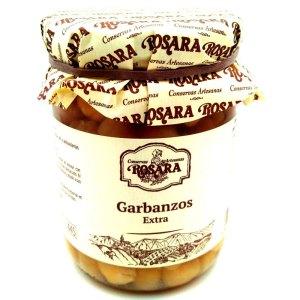 Garbanzo natural extra.Tarro cristal 390gr. Rosara.