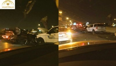 بالصور: انقلاب مركبة مواطن بعد مطاردة الهيئة في الرياض