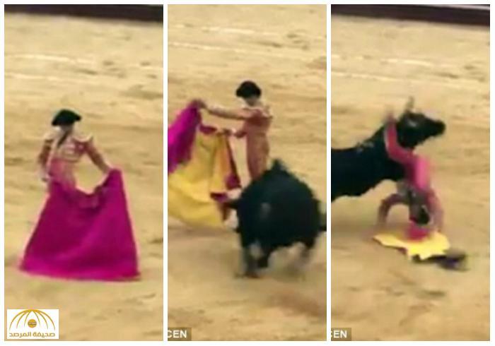 بالصور و الفيديو لحظات مروّعة .. شاهد : ثور هائج يقذف مصارعاً في الهواء وهذا مصيره!