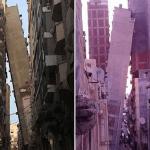 شاهد بالفيديو: عمارة من 12 طابقا تميل على أخرى بمصر