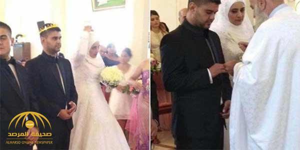 مسلمة تتزوج شاباً مسيحياً وهي ترتدي الحجاب داخل الكنيسة!! – صور