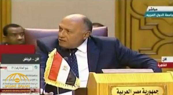"""بالفيديو .. وزير الخارجية المصري يشن  هجوما على  مندوب قطر: حديثك """"خارج"""" ومتدني"""