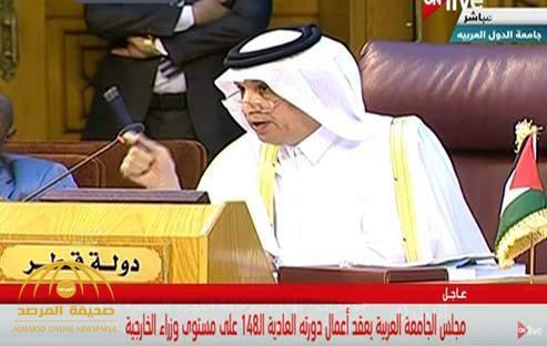 بالفيديو..موقف محرج لوزير خارجية قطر. ..ورئيس جلسة الجامعة العربية : هون على نفسك