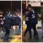 شاهد:هوشة كويتيين عند محطة وقود.. ورجل أمن يشهر سلاحه