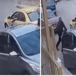 """فيديو مرعب.. شخص يعتدي على سائق سيارة أجرة ويضربه بـ """"سيف"""" !"""
