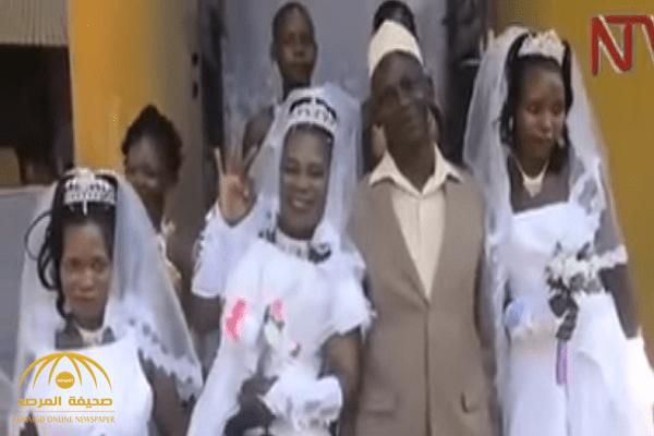 فيديو.. أفريقي يتزوج 3 نساء في ليلة واحدة بينهن شقيقتان!