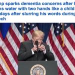 """شاهد: الرئيس الأمريكي يشرب """"الماء"""" مثل الطفل الرضيع.. ومقربون: يعاني من """"الخرف""""!"""