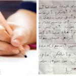 طفل سعودي يكتب لوالدته المتوفاة رسالة بخط يده.. اختتم خطابه بعبارة مبكية_صورة