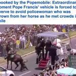 شاهد بالفيديو: لحظة اصطدام سيارة بابا الفاتيكان بحصان.. وسقوط إمرأة