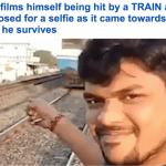 """فيديو : هندي وقف أمام قطار ليصور """"سلفي""""… شاهد النهاية !"""