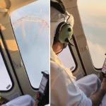 شاهد .. ولي عهد دبي يحلق بمروحية وسط الضباب