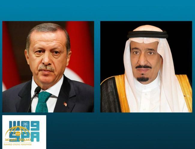 خادم الحرمين الشريفين يتلقى اتصالاً هاتفياً من الرئيس التركي