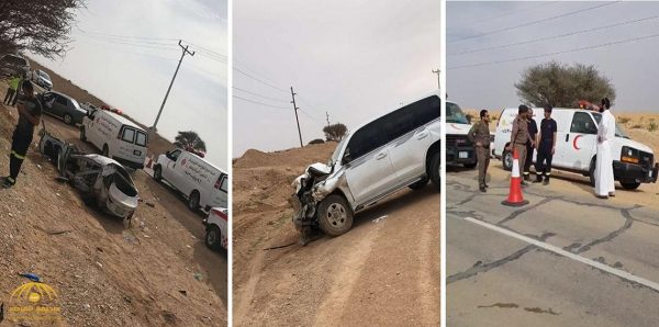 بالفيديو.. مصرع 9 أشخاص من عائلة واحدة بينهم 7 أطفال في حادث تصادم بطريق الدلم