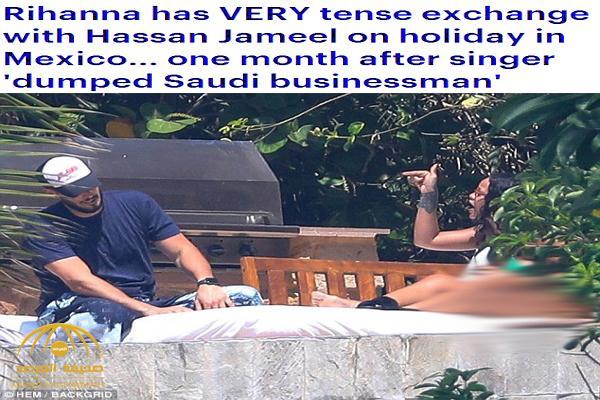 """حاول الدفاع عن نفسه .. بالصور: شاهد ريهانا تتحول إلى وحش و توبخ حبيبها السعودي """"حسن جميل """"وتصرخ عليه !"""
