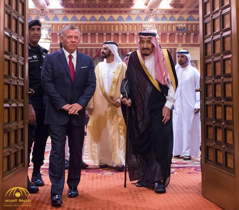 بالصور خادم الحرمين يستقبل ملك الأردن والشيخ محمد بن راشد وعدد