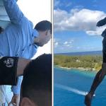 """بالفيديو: شاهد.. شاب أمريكي مغامر يقفز من الطابق الـ""""11″  لسفينة سياحية في البحر الكاريبي.. والسبب غريب!"""