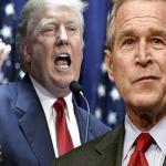 شاهد.. جورج بوش يهاجم ترامب بالبيتزا