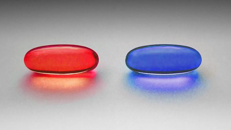 الحبة الحمراء والحبة الزرقاء