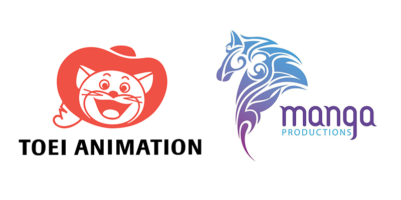"""لوغو شركة مانغا للإنتاج واستوديو توي أنميشن، منتجة فيلم """"الرحلة"""" والاستوديو الذي قام بالتنفيذ"""
