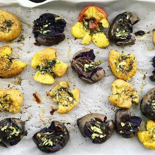 garlic and dill smashed potatoes