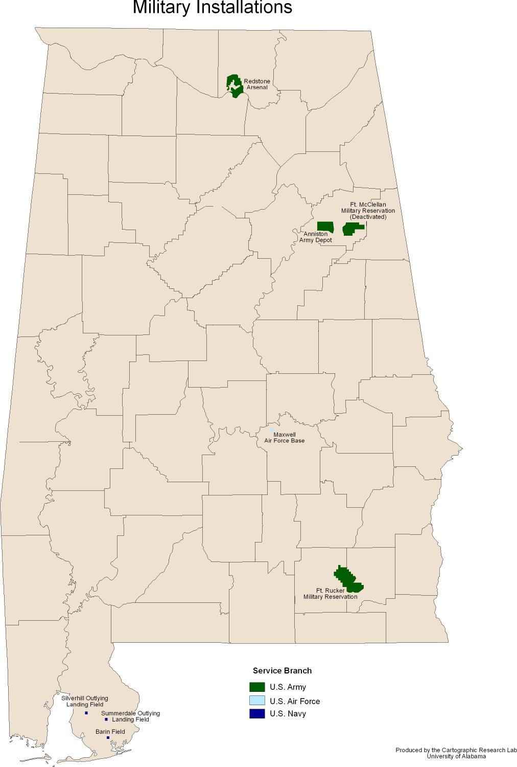Map Military Bases Alabama