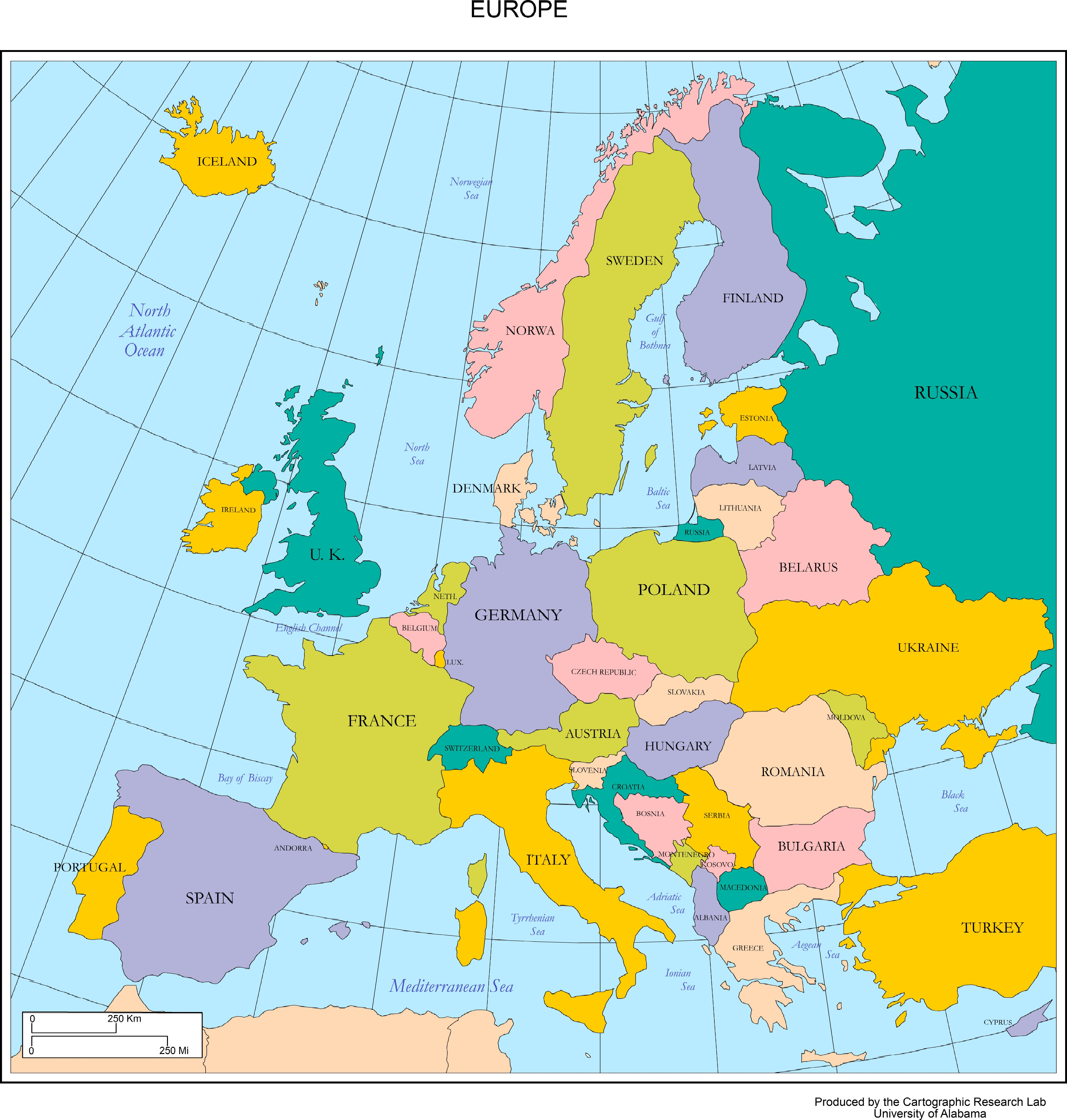 Map Of Europe Labeled