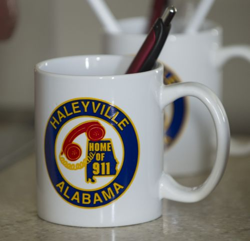 First 911 call made in Haleyville, Al. logo is seen everywhere. Photo courtesy of Bernard Troncalle.