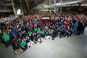 """Mercedes workers pose with the """"Job 1"""" GLE Coupe earlier this year. (contributed)"""