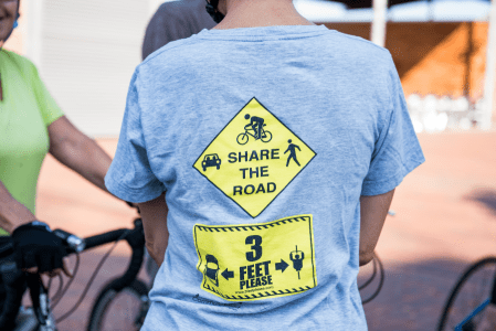 Participants wore a reminder to safely share the road
