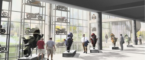 A rendering of the atrium interior of the Barber Vintage Motorsports Museum. (Williams Blackstock)