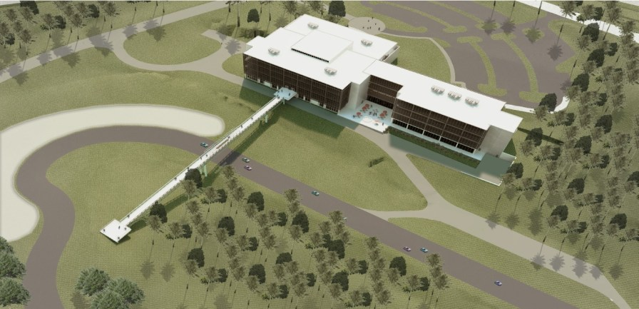 An aerial rendering of the expanded Barber Vintage Motorsports Museum. (Williams Blackstock)