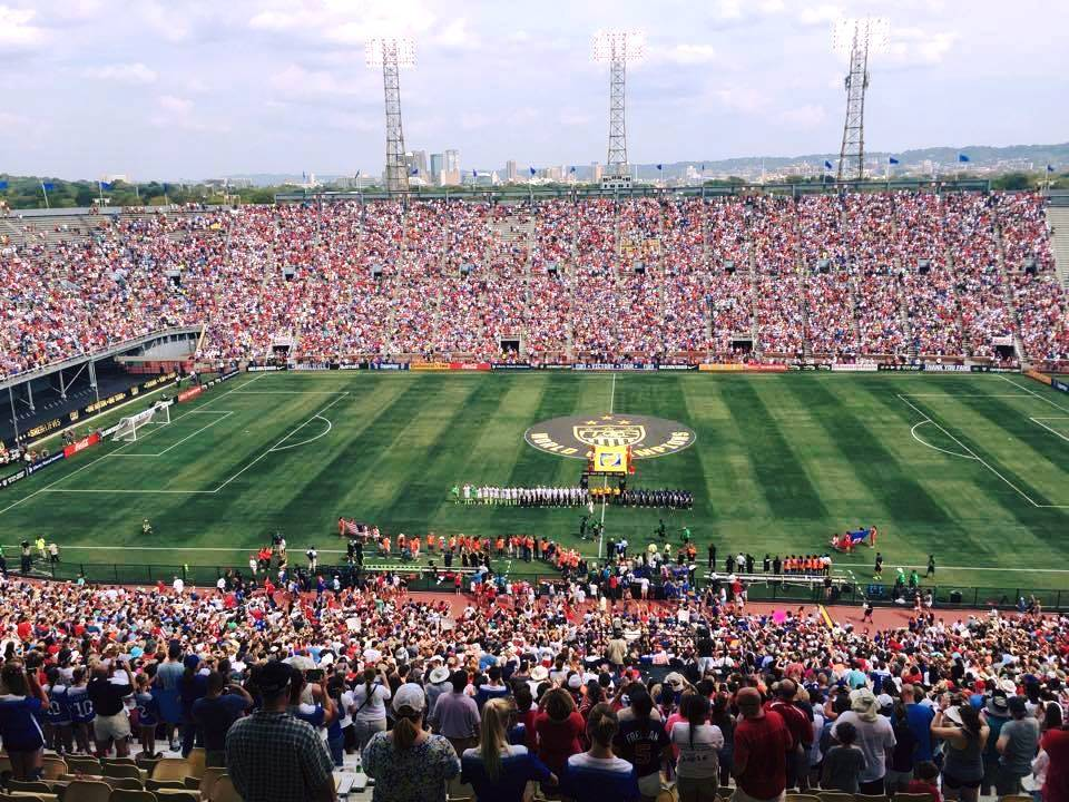 A Southeastern record crowd of nearly 38,000 attended the soccer match at Legion Field Sunday. (Gene Hallman/contributed)